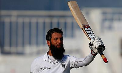 Moeen Ali celebrating his century in the fifth Test in Chennai