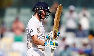Liam Dawson celebrating his fifty against India in Chennai