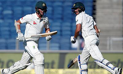 Mitchell Starc (right) and Josh Hazlewood shared an unbeaten 51-run stard