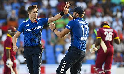 Chris Woakes (left) and Liam Plunkett were the heroes with the ball for England
