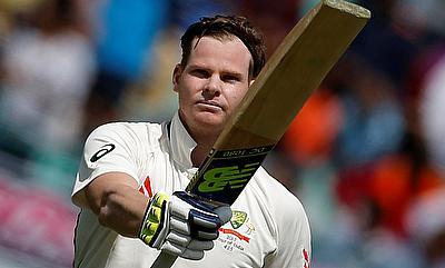 Steve Smith celebrating his century in Dharamsala Test