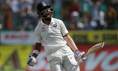 Lokesh Rahul celebrating the win in the Dharamsala Test
