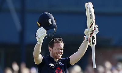 Eoin Morgan celebrating his century in the first ODI against South Africa in Headingley