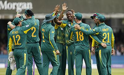 Kagiso Rabada (centre) picked a four-wicket haul in the game