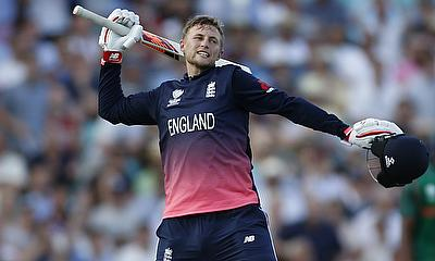 England's Joe Root celebrating his century against Bangladesh at The Oval