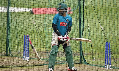 Tamim Iqbal during a practice session ahead of the game against New Zealand