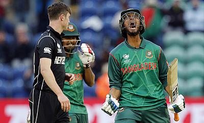 Mahmudullah (right) celebrating Bangladesh's win over New Zealand
