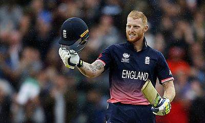 Ben Stokes celebrating his century against Australia