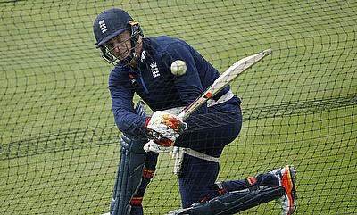 Jos Buttler during a net session ahead of the game against Pakistan