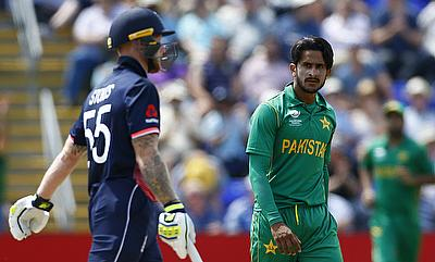 Hasan Ali (right) celebrating the wicket of Ben Stokes