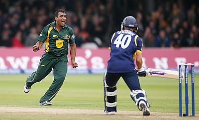 Samit Patel (left) scored a century and picked two wickets