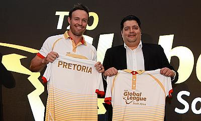 AB de Villiers and Osman Osman during the launch of T20 Global League in London