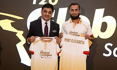 Imran Tahir and Ajay Sethi during the launch of T20 Global League in London