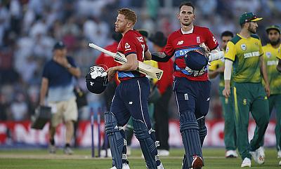 Jonny Bairstow (left) and Alex Hales celebrating the win over South Africa