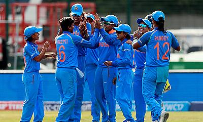 India celebrating the win over England in ICC Women's World Cup in Derby
