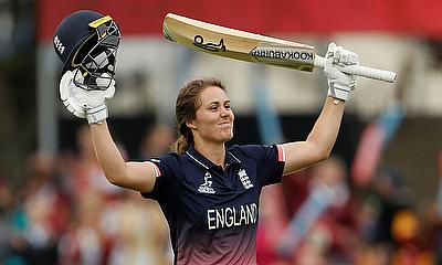 Natalie Sciver celebrating her maiden century for England