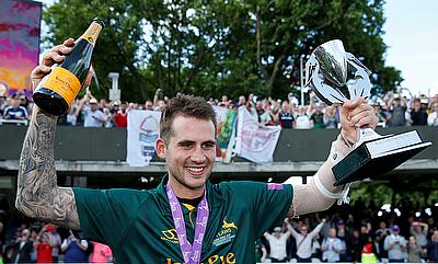 Nottinghamshire's Alex Hales celebrates with the trophy after winning the final