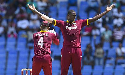 Jason Holder (right) came up with a man of the match performance in Antigua