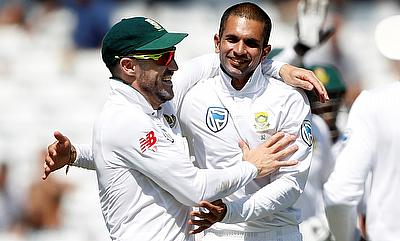 Keshav Maharaj (right) was impressive on the fourth day of Trent Bridge Test
