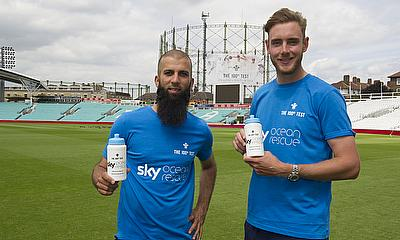 Moeen Ali (left) and Stuart Broad with Sky Ocean Rescue campaign
