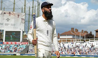 England's Moeen Ali celebrates after the match