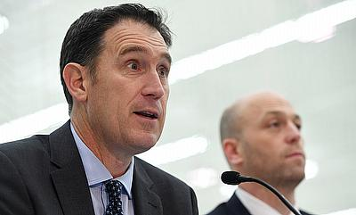 Cricket Australia CEO James Sutherland and Australian Cricketers' Association CEO Alistair Nicholson make an announcement on the Memorandum of Underst