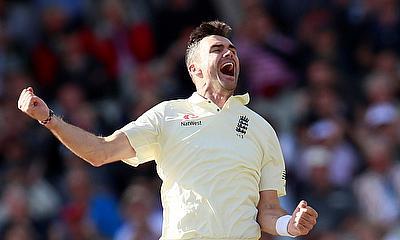 James Anderson celebrates with team mates after taking the wicket of South Africa's Faf du Plessis