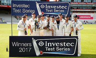 Joe Root and teammates celebrate winning the test series