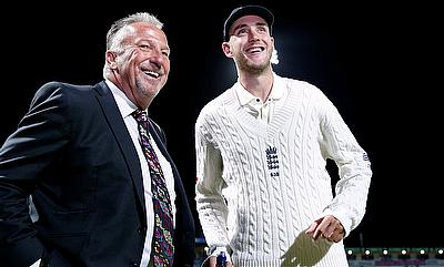 Stuart Broad (right) after going past Sir Ian Botham (left)