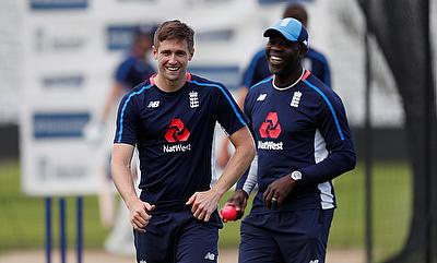 Chris Woakes and bowling coach Ottis Gibson during nets