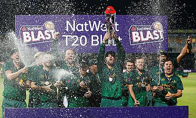 Nottinghamshire Outlaws' Daniel Christian celebrates with the trophy after winning the NatWest T20 Blast