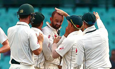 Nathan Lyon (centre) was the saviour for Australia in the Bangladesh tour