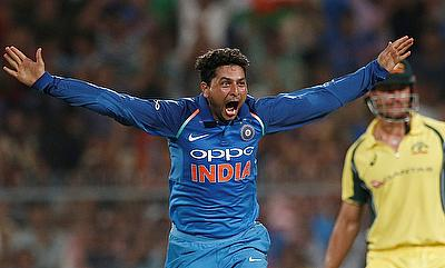 Kuldeep Yadav celebrating his hat-trick in the Eden Gardens ODI