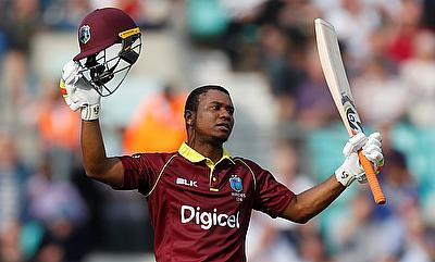 Evin Lewis celebrating his century in the fourth ODI at Kennington Oval