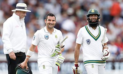Dean Elgar (centre) and Hashim Amla (right) piled on the runs for South Africa
