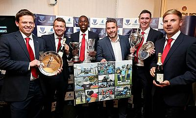 L-R – Ed Joyce, Chris Nash, Jofra Archer, Jamie Fielding, Steve Magoffin and Stiaan van Zyl