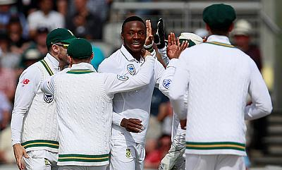 Kagiso Rabada (centre) picked a five-wicket haul