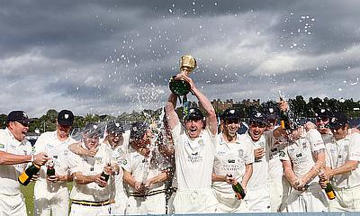 Durham celebrating the Championship win in 2013