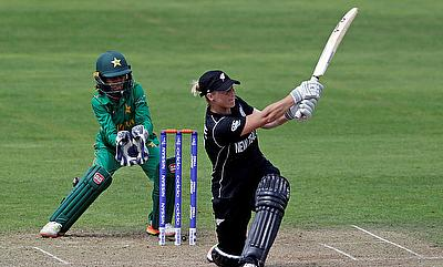 Sophie Devine (right) scored a century for New Zealand