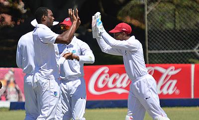 Shannon Gabriel (left) celebrating the wicket of Brendan Taylor