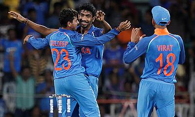 Jasprit Bumrah (centre) was brilliant with the ball