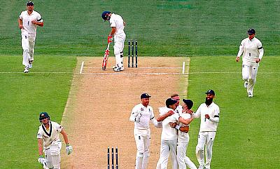 England celebrate after Australia's Cameron Bancroft is run out during the first day in Adelaide