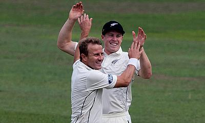 Neil Wagner (left) picked three wickets in the final innings