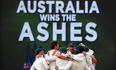 Australia players celebrating the Ashes series victory over England