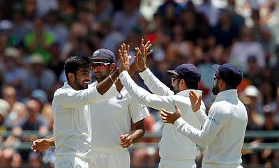 Jasprit Bumrah (left) picked the wicket of AB de Villiers on his debut