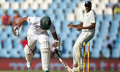 South Africa's Hashim Amla is run out during the second Test match against India