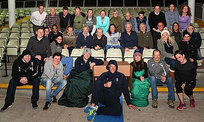 Ashley Giles (front, centre) and the team of sleepers at the Edgbaston Sleepout in 2017.