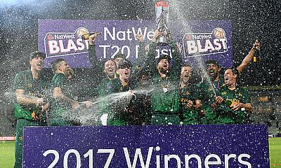 Champions Notts Outlaws lift the NatWest T20 Blast trophy