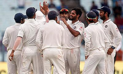Bhuvneshwar Kumar (centre) had a fantastic series for India