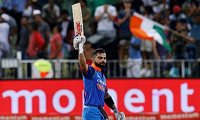 Virat Kohli celebrating his century at Kingsmead